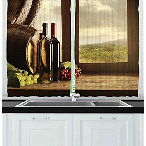 Ambesonne Winery Decor Collection, Dark Clouds Over Vineyard Rainy Weather  View From Window Of Farmhouse Scenery, Window Treatments For Kitchen  Curtains 2 ...