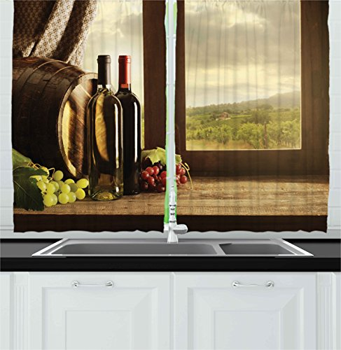 Ambesonne Winery Decor Collection, Dark Clouds Over Vineyard Rainy Weather View from Window of Farmhouse Scenery, Window Treatments for Kitchen Curtains 2 Panels, 55 X 39 Inches, Grey Maroon - Green Maroon