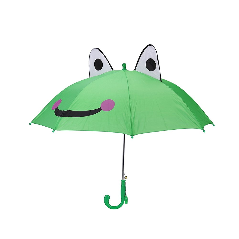 Kids Rain Umbrella, 18 Inch Half Automatic Handle for Boys Girls with 3D Ears