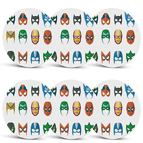 Superhero Non Slip Coasters,Hero Mask Female Male Costume Power Justice People Fashion Icons Kids Display for Office HomeSet of 6 ()