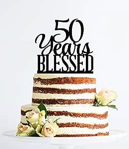Qidushop Decoración para tarta de 50 años con diseño de ...