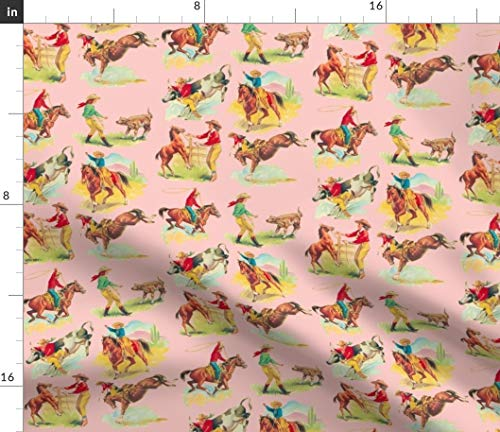 Spoonflower Pink Cowgirl Fabric - Pink Cowgirl Cowgirl Cowboy Cowboy Horse Pink Horse Western Print on Fabric by The Yard - Minky for Sewing Baby Blankets Quilt Backing Plush Toys