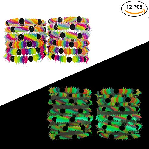 FROG SAC Glow in the Dark Bracelets for Boys Girls Teens Kids 12 PCs Pack - Fluorescent and UV Led Black Light Reactive Neon Rave Beaded Stretch Bracelet Toy Set (Halloween Goodie Bag Ideas For Adults)