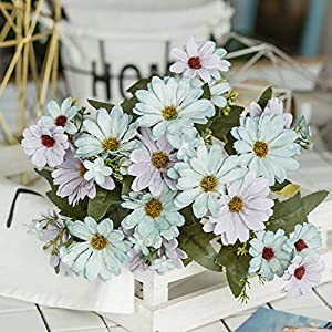 ywbtuechars Handmade Artificial Flower Fake Daisy Gerbera Artificial Flower Bud Cloth Flower Small Daisy Flower Home Living Room Table Vase Decoration Flower 1Pc 9 Branches 10