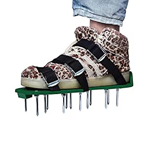 Lawn Aerator Shoes, UNIFUN Pair of Spikes Aerator Sandals with Metal Buckles and 3 Straps - Heavy Duty Spikes