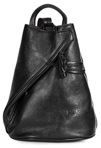 LiaTalia Bolso de Hombro Convertible con Tiras, Bolso de Cuero Italiano con Bolsa de Almacenamiento Protector - Brady (Pequeño/Mini) Negro