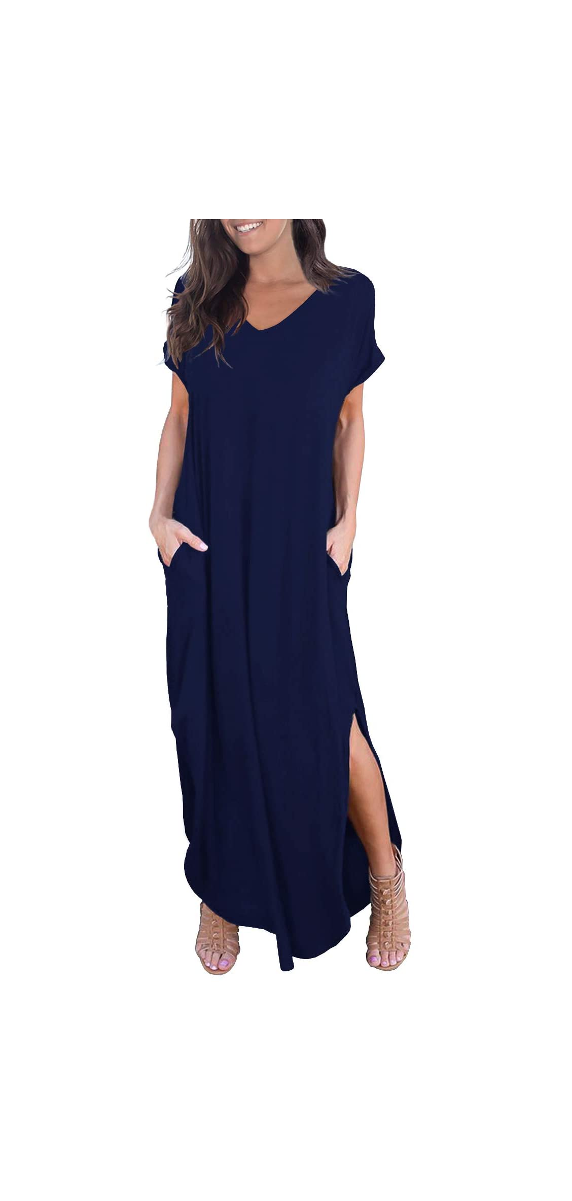 Women's Casual Loose Pocket Long Dress Short Sleeve