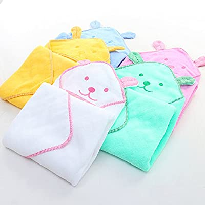Elaiya Baby Kids Cute Cartoon Animal Bear Cotton Hooded Bath Towels Wrap Robe Cloak | Super Absorbent and Hypoallergenic | Sized for Infant and Toddler