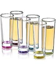 JoyJolt Hue Colored Shot Glass Set, 6 Piece Shot Glasses - 2-Ounces.