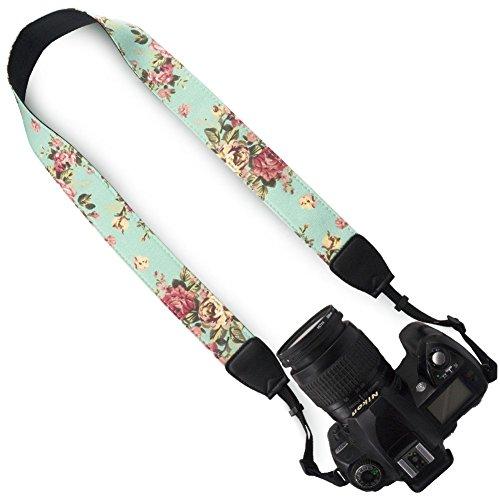DSLR / SLR Camera Neck Shoulder Belt Strap - Wolven Canvas DSLR/SLR Camera Neck Shoulder Belt Strap for Nikon Canon Samsung Pentax Sony Olympus or Other Cameras - Green Vintage floral