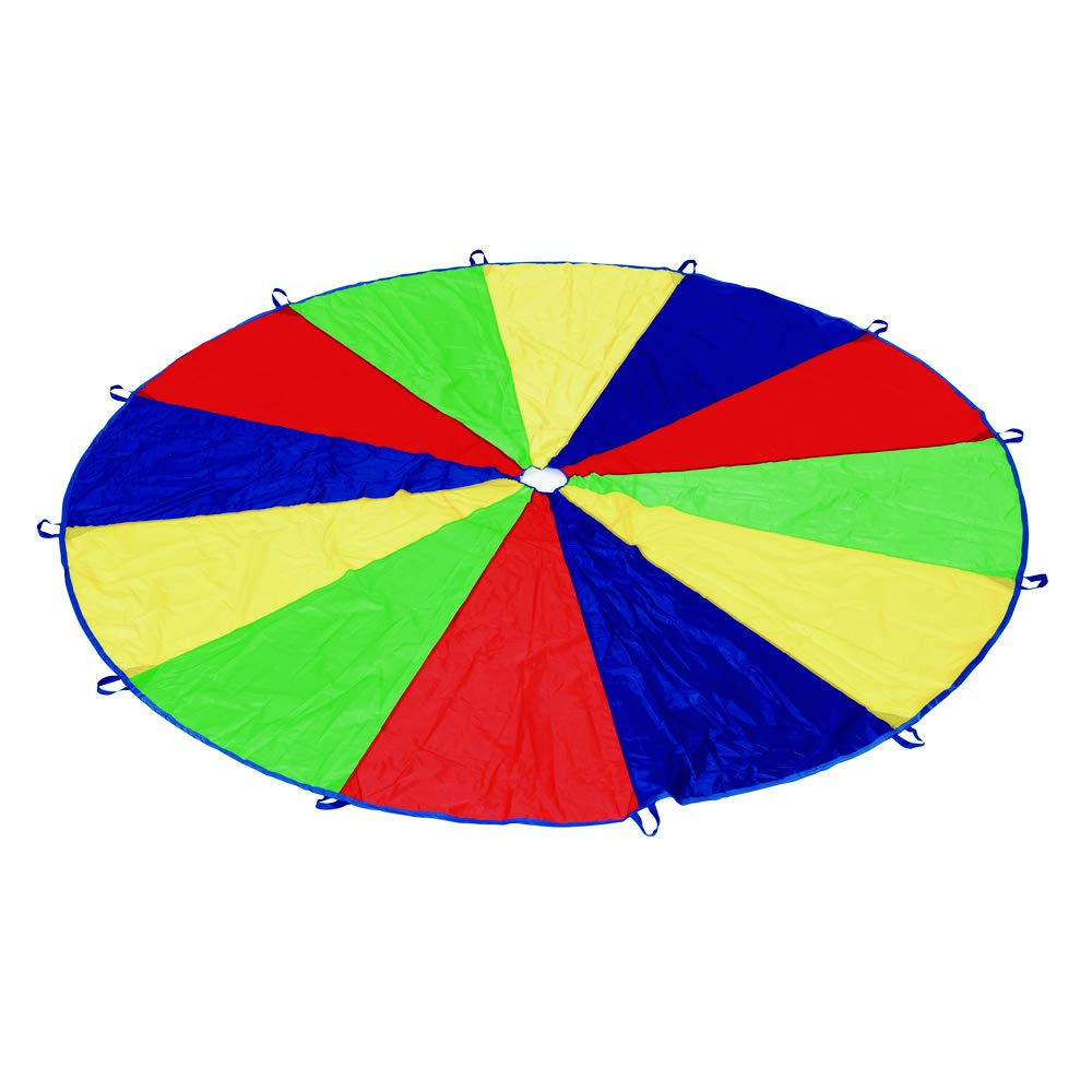 20 Diameter Kids Toy Excellerations Brawny Tough 20-Foot Rainbow Play Parachute for Kids with 16 Handles
