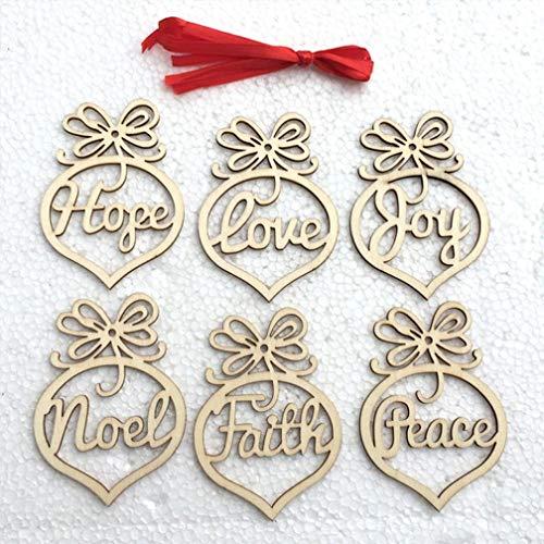 JHKUNO Wall Décor Stickers, 6Pcs Christmas Decorations Wooden Ornament Xmas Tree Hanging Tags Pendant Decor (Black)