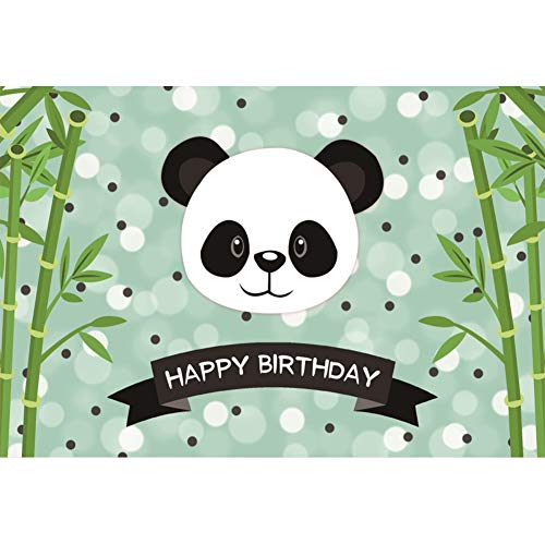 - Yeele 7x5ft Vinyl Happy Birthday Party Backdrop for Photography Cute Panda Bamboo Background Baby Kids Birthday Party Decoration Banner Photo Booth Shoot Studio Props