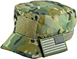 Tactical Multicam Camo Military Army Camouflage Adjustable Patrol Fatigue Cap with Reverse USA Flag Patch (Multitan)