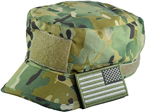mo Military Army Camouflage Adjustable Patrol Fatigue Cap with Reverse USA Flag Patch (Multitan) (Camouflage Usa Made Fatigue Cap)