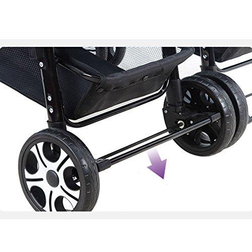 Xiaoping Twin Poussette pliante en acier, Tricycle, corps en acier haute teneur en carbone, Super Amortisseur