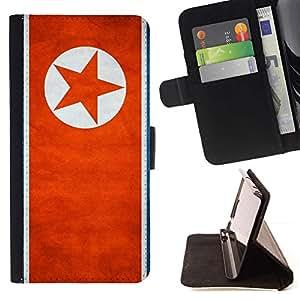 Momo Phone Case / Flip Funda de Cuero Case Cover - Nación Bandera Nacional País Corea del Norte; - LG OPTIMUS L90