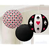 Amscan Casino Printed Lanterns Hanging Party Decoration (3 Piece), Multi Color, 12 x 11