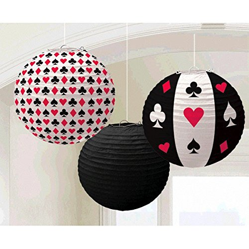 Amscan Casino Printed Lanterns Hanging Party Decoration (3 Piece), Multi Color, 12 x -