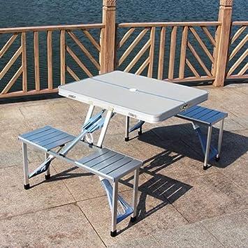 Dszgo Mesa plegable al aire libre Juego de mesa y silla de ...
