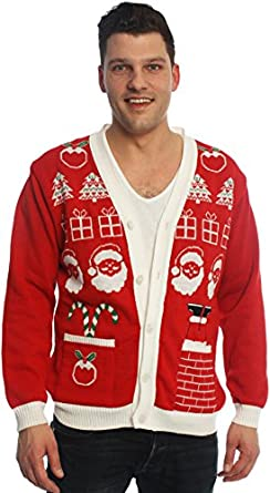 Santa Christmas Jumper Cardigan- Ladies & Mens, Novelty, Red and ...