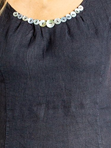 Donna Scuro Caspar Blu Decorativi Vestito Bottoni Di Lino Skl018 Estivo Con 5qqxwvF1a