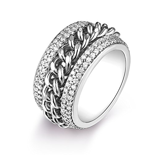 Barzel 18K White Gold Plated and Swarovski Elements Braid Statement Ring (9) ()