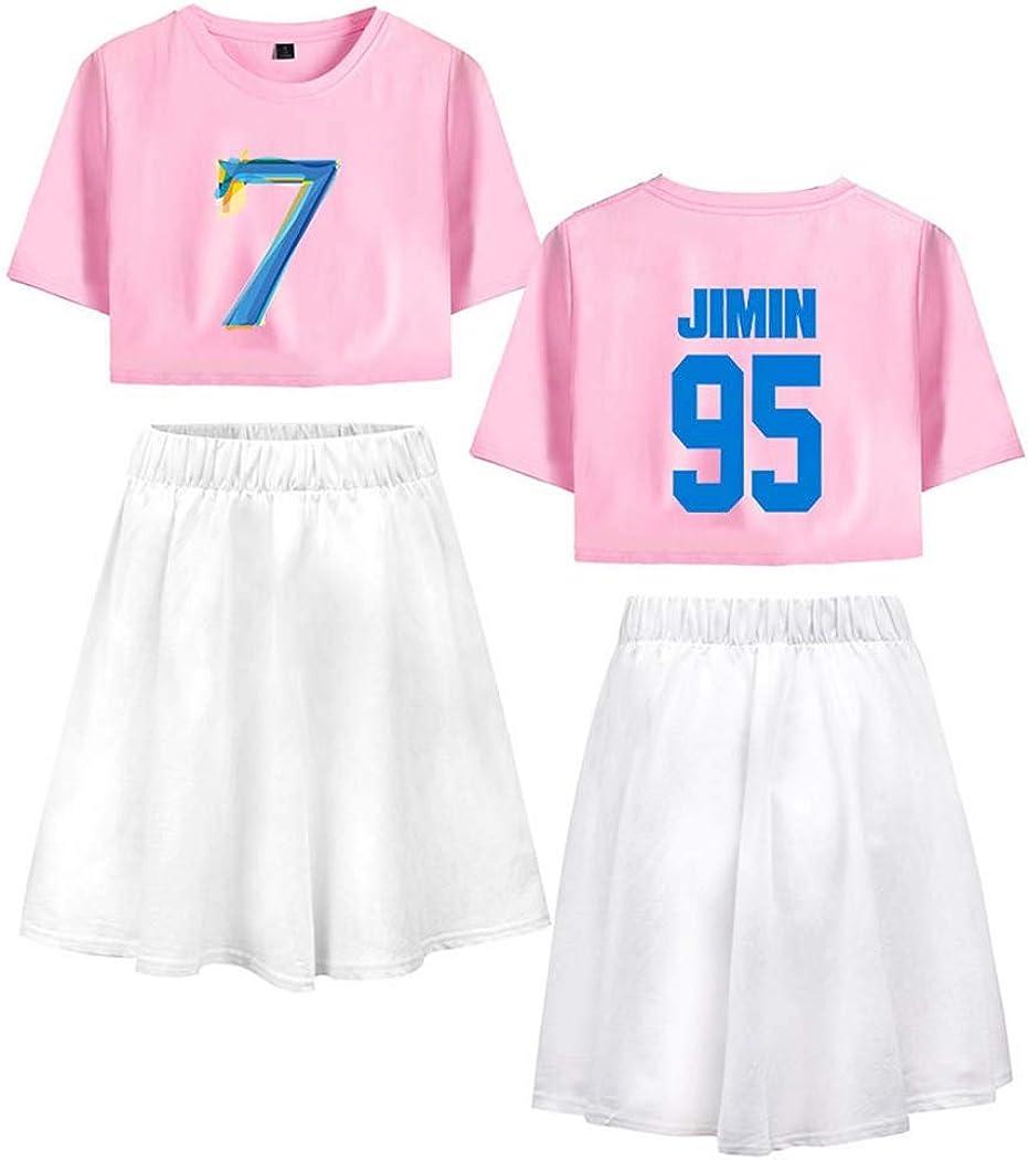 Flyself Femmes BTS T-Shirt /& Jupe Set BTS Map of The Soul 7 Manches Courtes Crop Top /& Jupe 2 Pi/èces Ensembles d/ét/é Pyjamas Tops et Jupes Courtes Jin Jimin Suga V J-Hope Jung Kook RM