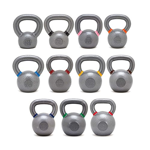 Onefitwonder Solid Cast Iron Kettlebells Set for Crossfit Training Strength Training Gym Exercise Superior Grip 4/6/8/10/12/14/16/18/20/24/32 by OneFitWonder
