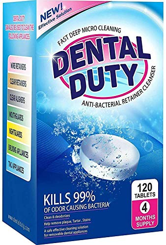 120 Retainer and Denture Cleaning Tablets -(4 Months Supply)- Cleaner Removes Bad Odor, Plaque, Stains from Dentures, Retainers, Night Guards, Mouth Guards & Removable Dental Appliances. Made in USA. ()