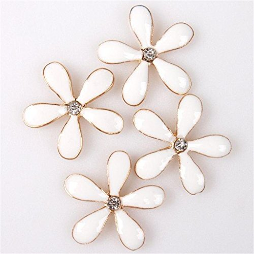 ShungHO 25pcs Retail Flower Style White Enamel Flatback Scrapbooking Embellishment Lots