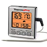 ThermoPro TP-16S Digital Meat Thermometer Cooking Thermometer Smoker Cooking Food BBQ Thermometer for Grilling with Smart Cooking Timer Mode and Backlight
