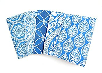 Bullet Journals - Set of 5 Notebooks with Blue Paisley Patterns