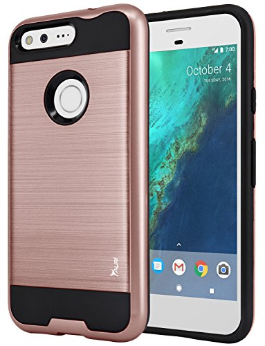 Price comparison product image Google Pixel Case, Tauri [Shock Absorbent] Slim Brush Texture Hybrid Defender Armor Protective Case Cover For Google Pixel - Rose Gold