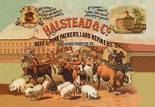 (ArtParisienne Halstead and Company Beef and Pork Packers York Richard Brown 12x18-inch Paper Giclée)