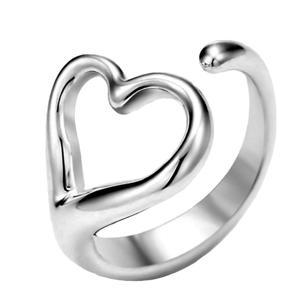 angel3292 Clearance Deals Women Hollow Love Heart Open Ring Fashion Adjustable Silver Plated Party Jewelry Silver