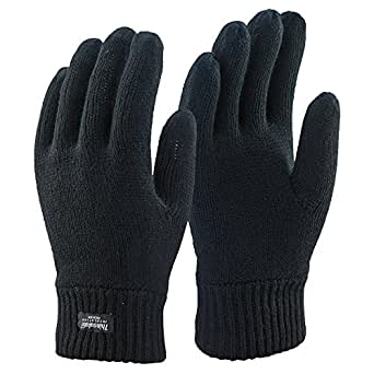 Mens Black Thinsulate Thermal Insulated Lined Winter
