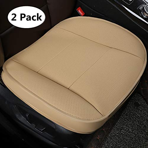 HONCENMAX Luxury Car Seat Cover Cushion Pad Mat Protector for Auto interior Supplies for Sedan SUV PU leather 3D Edge Wrapping Protection Cover Without Backrest - 2 Pack Beige