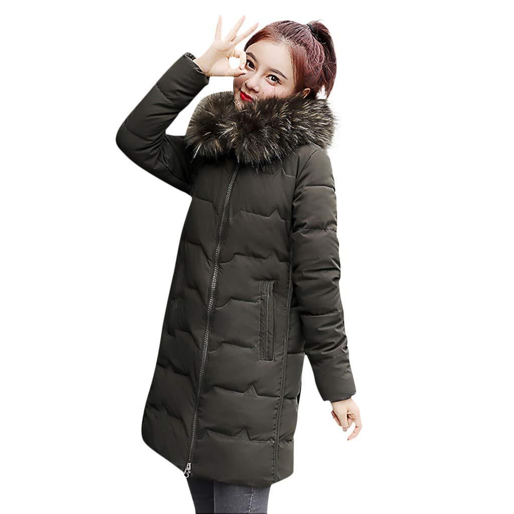 Fashionhe Women Down Jacket Fashion Outerwear Long Sleeve Hooded Jackets Cotton-Padded Print Coats(Green.L) by Fashionhe
