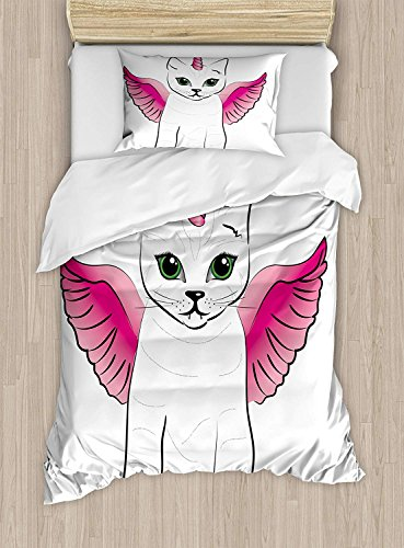 Wings Crib Bedding Collection - Full Bedding Sets for Boys,Unicorn Cat Duvet Cover Set,Urban Fantasy Theme Cat Figure with Pink Wings and Horn Vintage Fiction Art,Cosy House Collection 4 Piece Bedding Sets