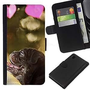 EJOY---La carpeta del tirón la caja de cuero de alta calidad de la PU Caso protector / Sony Xperia Z1 L39 / --Pug Cachorro de perro de San Valentín del amor del corazón