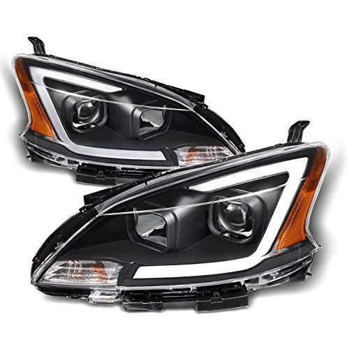 (Fits 2013 2014 2015 Sentra LED DRL Projector Front Black Bezel Headlights Headlamps Pair Left +)