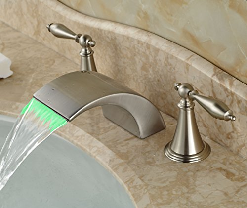 Waterfall Two Light (Rozin LED Light Waterfall Spout Basin Faucet Two Knobs Mixer Tap Brushed Nickel)