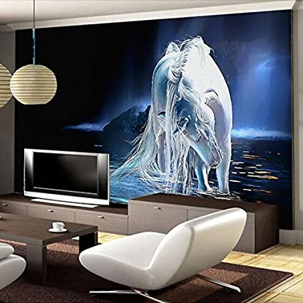 Exceptionnel Amazhen Custom 3D Wallpaper White Horse Sofa TV Background Wall Mural  Wallpaper For Living Room Bedroom