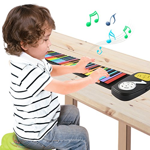 JouerNow Rainbow Roll Up Piano, with Music Scores - Play by Color, 49 Standard Keys with Built-in Speaker, Educational Toy, White by JouerNow (Image #8)