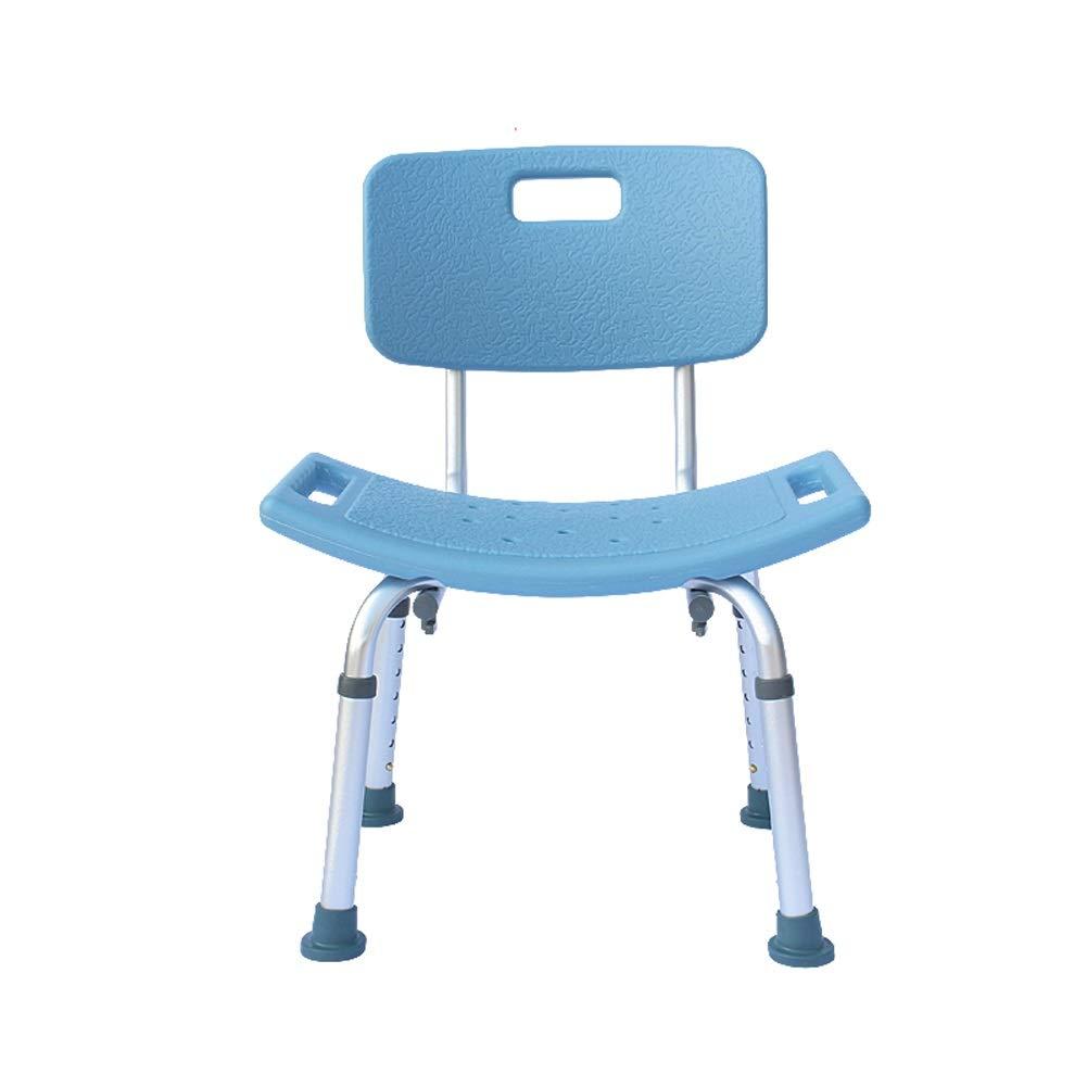 Beauty Blue Shower Stool,Bathing Aid for Elderly/Disabled Anti-Slip Seat Bench,Detachable Backrest,7 Height Ajustable