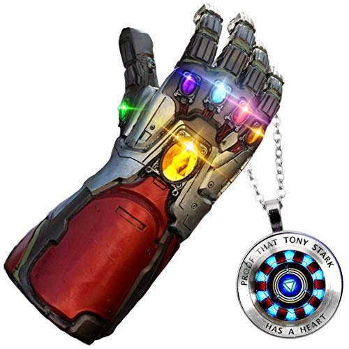 GOPOWR Endgame Iron Man Infinity Gauntlet 2 Replica Snap LED Light Up Toy Thanos Latex Glove Superhero Halloween Costume Cosplay w/Tony Stark Necklace Mens Womens Boy Girl Legends (Avengers-Silver) ()