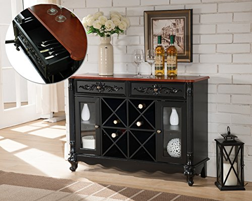 Black & Walnut Wood Wine Rack Sideboard Buffet Display Console Table with Storage Drawers & Glass Cabinet Doors