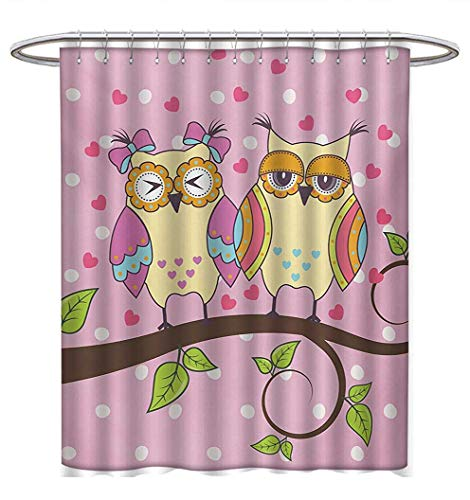(Owls Shower Curtains Fabric Extra Long Owls Love Valentines on Branch Polkadots Leaves Hearts Romance Bathroom Decor Set with Hooks W48 x L84 Pale Pink Apple Green Pale Yellow)