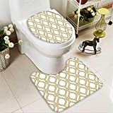 Analisahome Toilet carpet floor mat abstract pattern in arabian style seamless vector background gold and white 2 Piece Shower Mat set